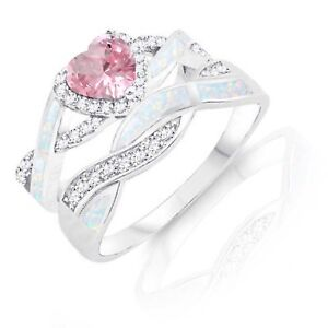 Pink Sapphire Heart Infinity Celtic White Opal w CZ Engagement Silver Ring Set