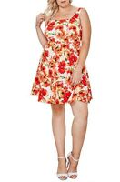 MaiTai Plus Size (1X, 2X, 3X) Floral Print Sleeveless Mini Flare Dress