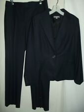 ANN TAYLOR Sz 10 Jacket (Sz 6 Pants) Black or Blue Pinstripe Wool Suit blazer