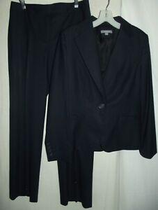 ANN TAYLOR Sz 10 Jacket (Sz 6 Pants) Black or Blue Pinstripe Wool Suit blazer