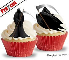 PRE-CUT GRIM REAPER EDIBLE WAFER PAPER CUP CAKE TOPPERS HALLOWEEN DECORATIONS
