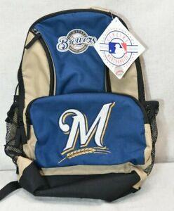 "Milwaukee Brewers MLB ""Sprinter"" Backpack 2018 Logo Blue Tan [Nice] 17x12.5"
