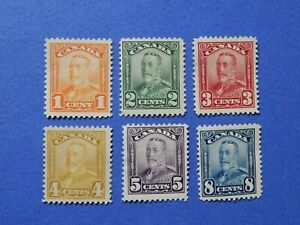 """#149-154 MH  bright, well-centred King George V """"Scroll"""" issue, 1928-29. CV=$123"""