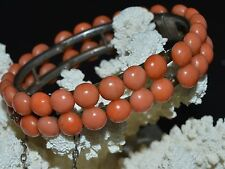 Antique Original Natural undyed CORAL salmon VICTORIAN BRACELET 19th CENTURY old