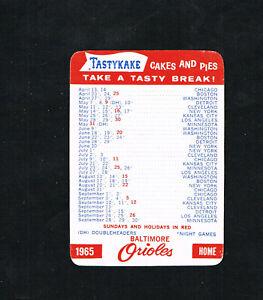 1965 Baltimore Orioles Tastykake Baseball Pocket Schedule Card