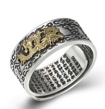 990 Sterling Silver dragon Om mani padme hum Mantra ring rings jewelry  S2952