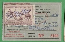 North Carolina 1953 Resident Hunting License Rw20 Federal Duck Stamp - 484