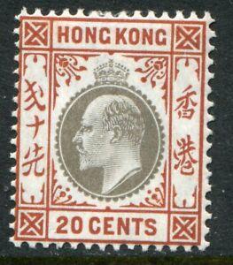 Hong Kong KEVII 1904-04 wmk MCA 20c SG 83a hinged mint (cat. £65)