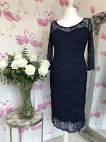 PER UNA Dress Size 14 Lace Navy Blue Shift Sleeve Occasion Evening party