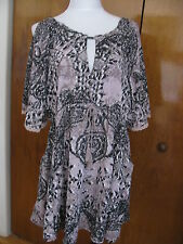 Free People women's multi color relaxed fit lined soft rayon NWT dress Large