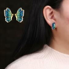 Fashion Women Earrings Oil Painted Blue Butterfly Birthday Party Free Shipping