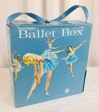 Vintage 1966 Mattel Ballet Slipper Tap Shoe Box Blue Vinyl Carry Case Tote