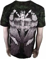 Xzavier Release The Wicked Gravestone Skull Wings Cross Adult Mens T Shirt Large