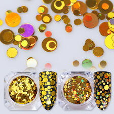 1.5g BORN PRETTY Holographic Gold Nail Flakes Sequins Glitter Mixed Size Round
