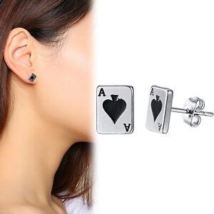Silver Plated 3D Spade ACE Poker Card Style Ear Studs Jewelry Piercing Earrings