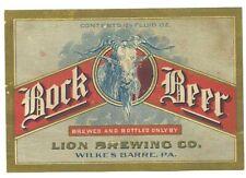 Lion BOCK beer bottle label, Wilkes Barre, PA, prepro, pre- IRTP