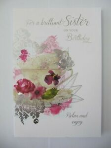 BEAUTIFUL COLOURFUL FLOWERS FOR A BRILLIANT SISTER BIRTHDAY GREETING CARD