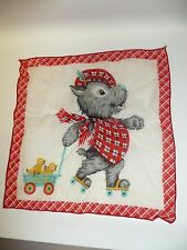 "8.5"" x 8.5"" Vintage 1950's Hankie w/a Scottie Dog on Roller Skates w/Baby Chicks"