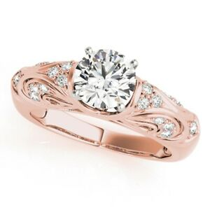 Round Cut 0.95 Ct Diamond Engagement Ring For Women 14K Rose Gold Size 5 6 7 8 9