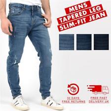 """New Mens Jeans Slim Fit Distressed Rip & Plain Regular Pants Denim Jean 30-36"""""""