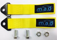 2 x YELLOW M.A.D 280MM TOW STRAP LOOP RECOVERY HOOK TRACK DAY RACE CAR DRIFT