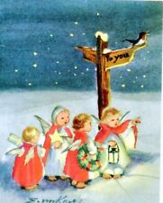 Vintage Brownie Christmas Greeting Card Angels Night Snow Erica Von Kager 3297