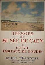 Eugene Boudin affiche lithographie Mourlot 1958 Musée de Caen Normandie