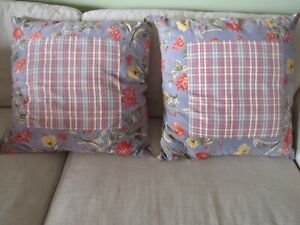 2 LARGE APRIL CORNELL REVERIBLE PILLOW COVERS WITH INSERTS FLORAL & PLAID BLUE