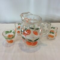 MCM Vintage Anchor Hocking Orange Juice Pitcher with 6 Mismatched Glasses Kitchy