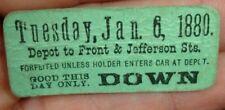 old 1880 Railroad Depot Ticket FRONT & JEFFERSON St train car station RR Railway