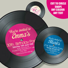 Vinyl Record Shape - Personalised 18th 21st 30th 40th Birthday Party Invitation