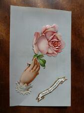 Lot100a Pensez a qui vous aime 'THINK ABOUT WHO LOVES YOU'  Pink ROSE Postcard