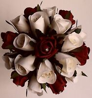 Ivory Silk Ruby Red Rose Brides Wedding Crystal Diamante Hantied Flowers Bouquet