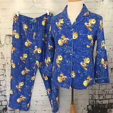 TWEETY BIRD 2 Pc Pajamas Set Blue 100% Cotton Flannel  Women's Large Warner Bros
