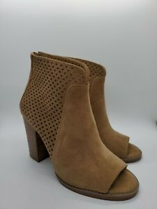 Lucky Brand Sz 6 M Tan Suede Ankle Boots Back Zip Perforated Lamia Peep Toe