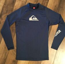 Men's Quiksilver Long Sleeve Athletic Compression Shirt .Dark Blue&Silver.Large.