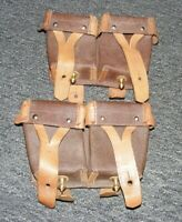 Army Ammo Pouch lot of 2 Russian Mag Magazine Brown Leather OTK5 Vintage Soviet