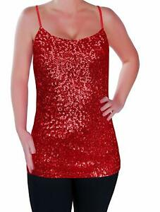 Womens Sparkly Sequin Strappy Vest Top Cami Sequined Sleeveless Camisole Glitter