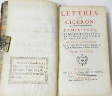 """LETTRES DE CICERON """"FAMILIERES"""" - TOME I : TRAD. GRAEVIUS & L'ABBE D'OLIVET 1745"""