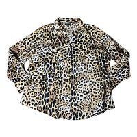 Lane Bryant Womens Blouse Size 28 Cheetah Print Button Down V Neck Collared Top