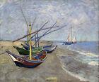 Fishing Boats on the Beach at Saintes-Maries Painting By Van Gogh Repro FREE S/H