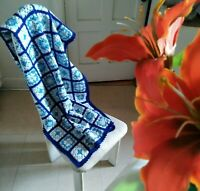 "Vintage Handmade Granny Square Crocheted Afghan Throw Blanket Blue 47"" x 25"""