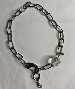 "Jewel Kade Silver Tone 8"" Crystal Ball Charm Necklace Choker"