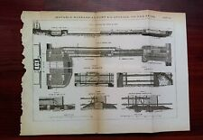 1873 Engineering Diagram Movable Barrage at Port a L'Anglais on the Seine Dam