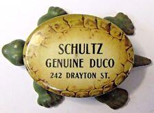 vintage SCHULTZ GENUINE DUCO celluloid cast iron TURTLE ad paperweight *