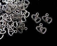 25 Pcs -  Tibetan Silver 19mm Double Heart Pendants Charms Jewellery Gift B2