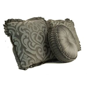 J QUEEN Throw Pillow (LOT OF 3) Luxembourg Tufted D07195 Silver Gray White