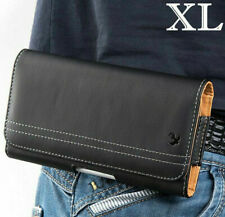 for XL LARGE Phones - Black PU Leather Pouch Holder Belt Clip Holster Case Cover