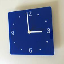 Square Blue & White Clock - (white Backed), white Hands & Silent Sweep Movement