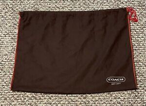"Coach Handbag Dust Cover Bag Brown Red Trim 18"" X 15"" Inches Draw String Closure"